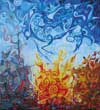 Unicorn in search of contemporary celtic art | Oil on canvas | 60cm x 65cm | 2004